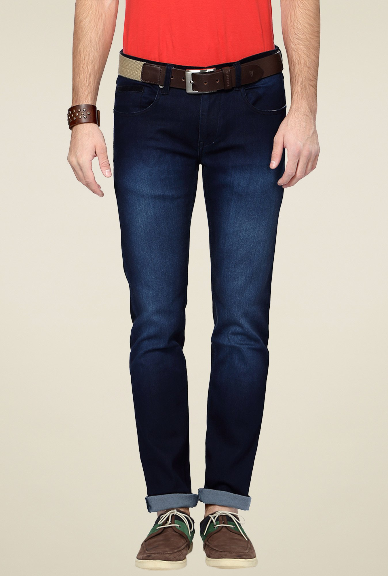People Blue Slim Fit Mid Rise Jeans