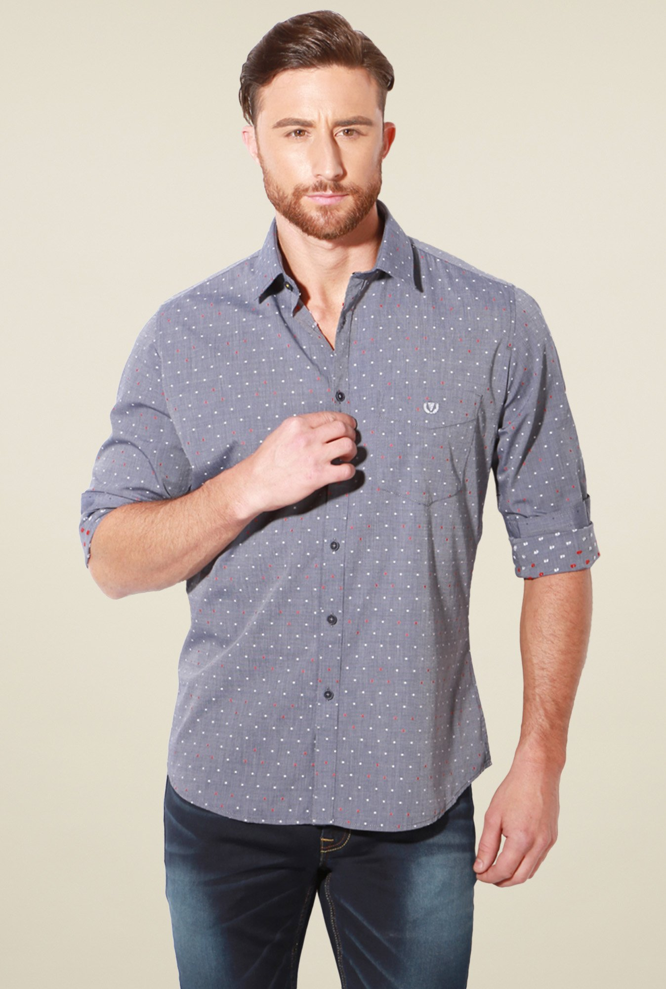 Van Heusen Slate Grey Slim Fit Shirt