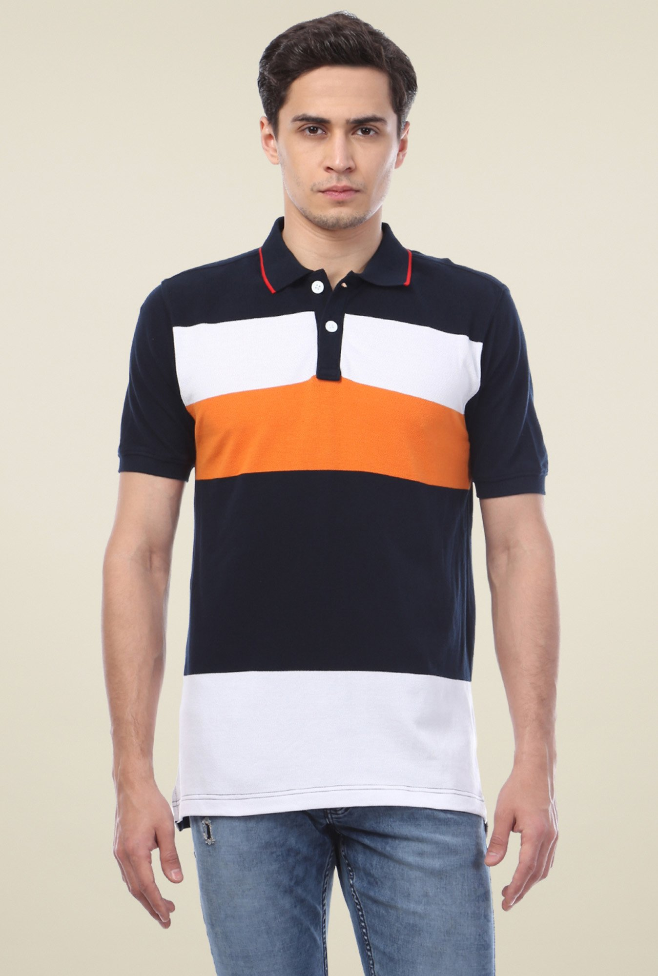 Van Heusen Navy Striped Polo T-Shirt