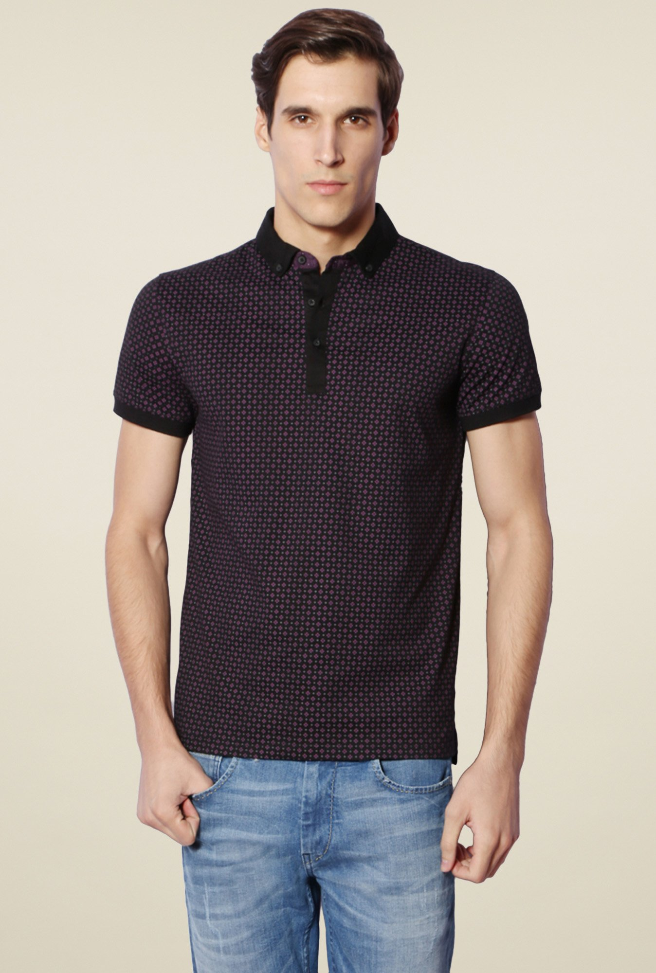 Van Heusen Black & Purple Printed Cotton T-Shirt