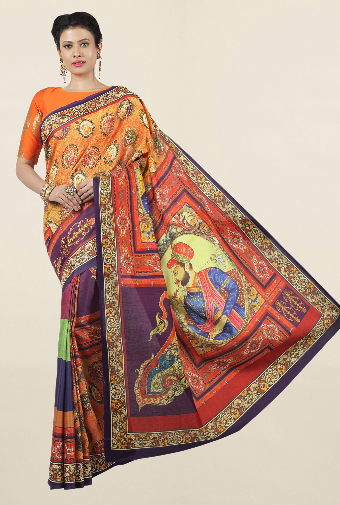 Jashn Multicolor Printed Art Silk Saree