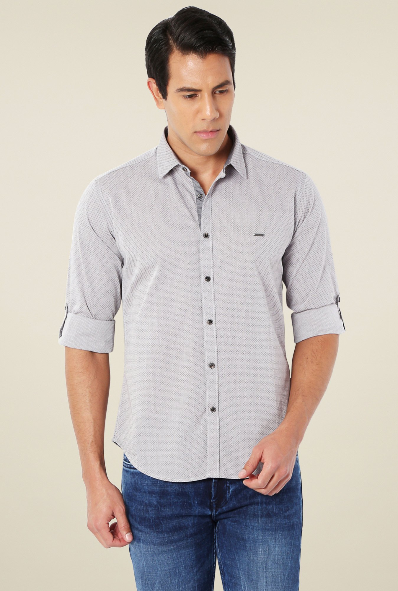 Van Heusen Grey Slim Fit Printed Shirt