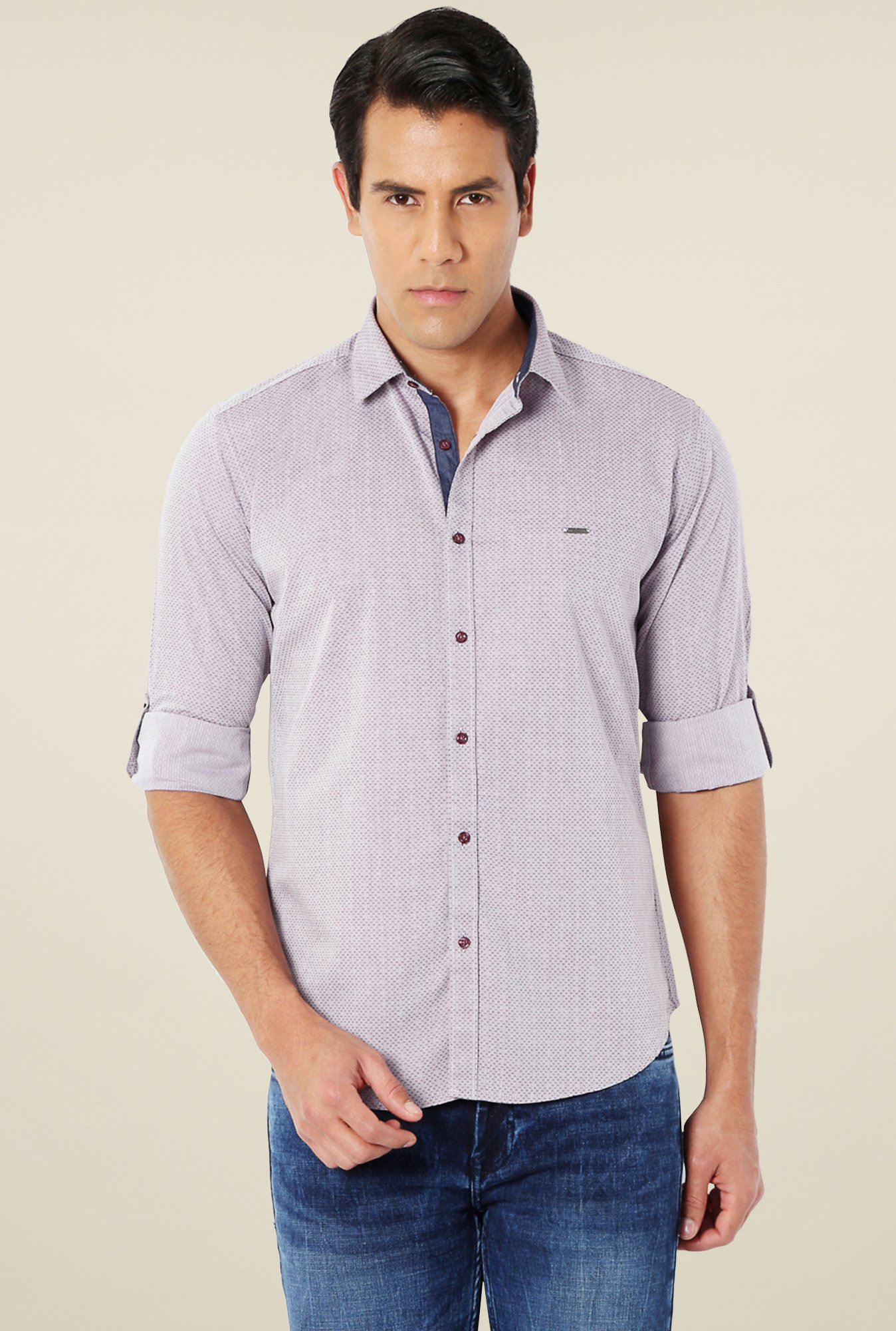 Van Heusen Grey Full Sleeves Cotton Printed Shirt