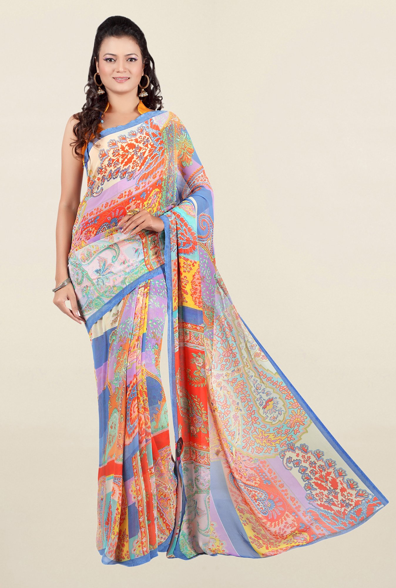 Jashn Multicolor Printed Georgette Saree