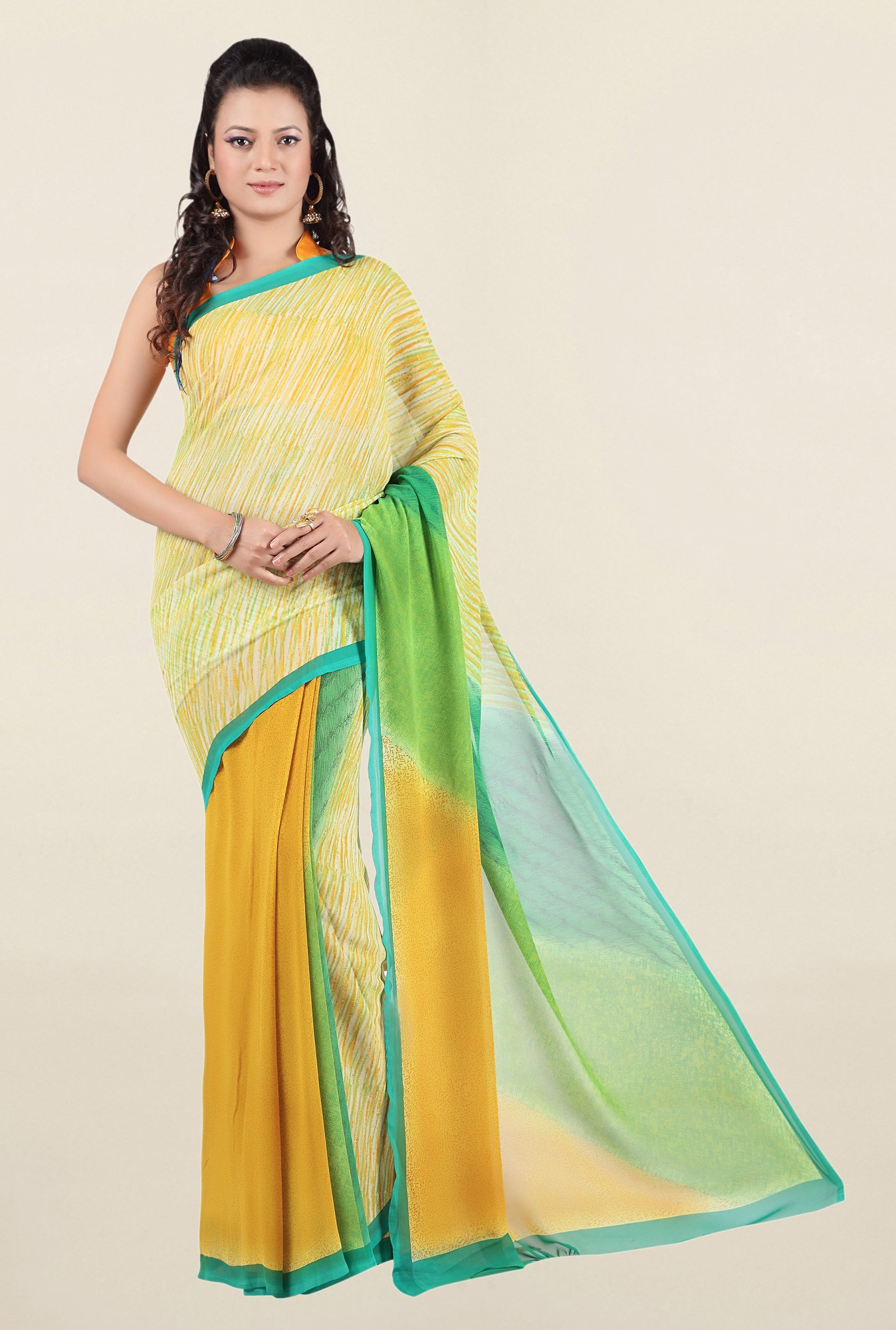 Jashn Yellow Printed Georgette Saree