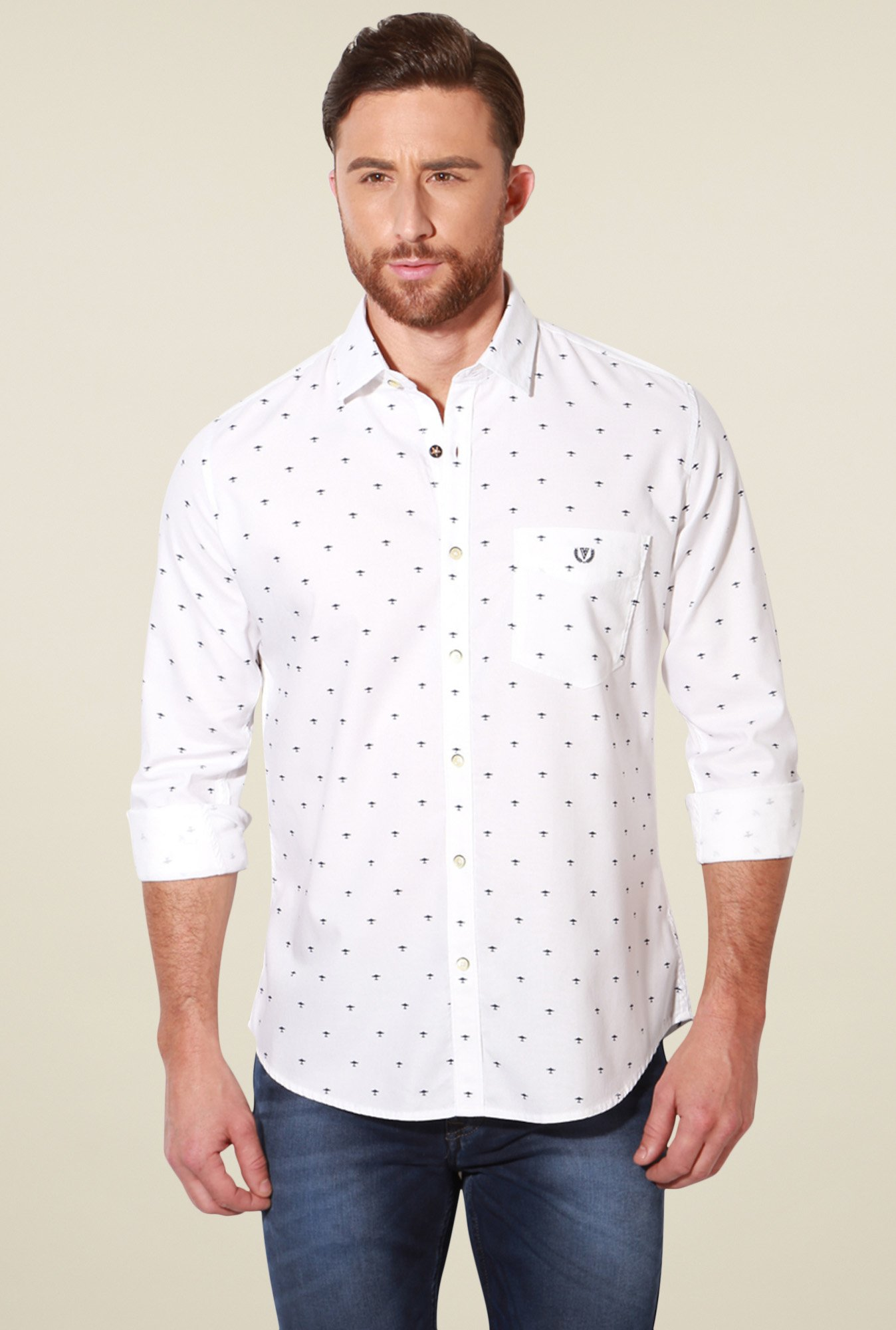 Van Heusen White Slim Fit Cotton Printed Shirt