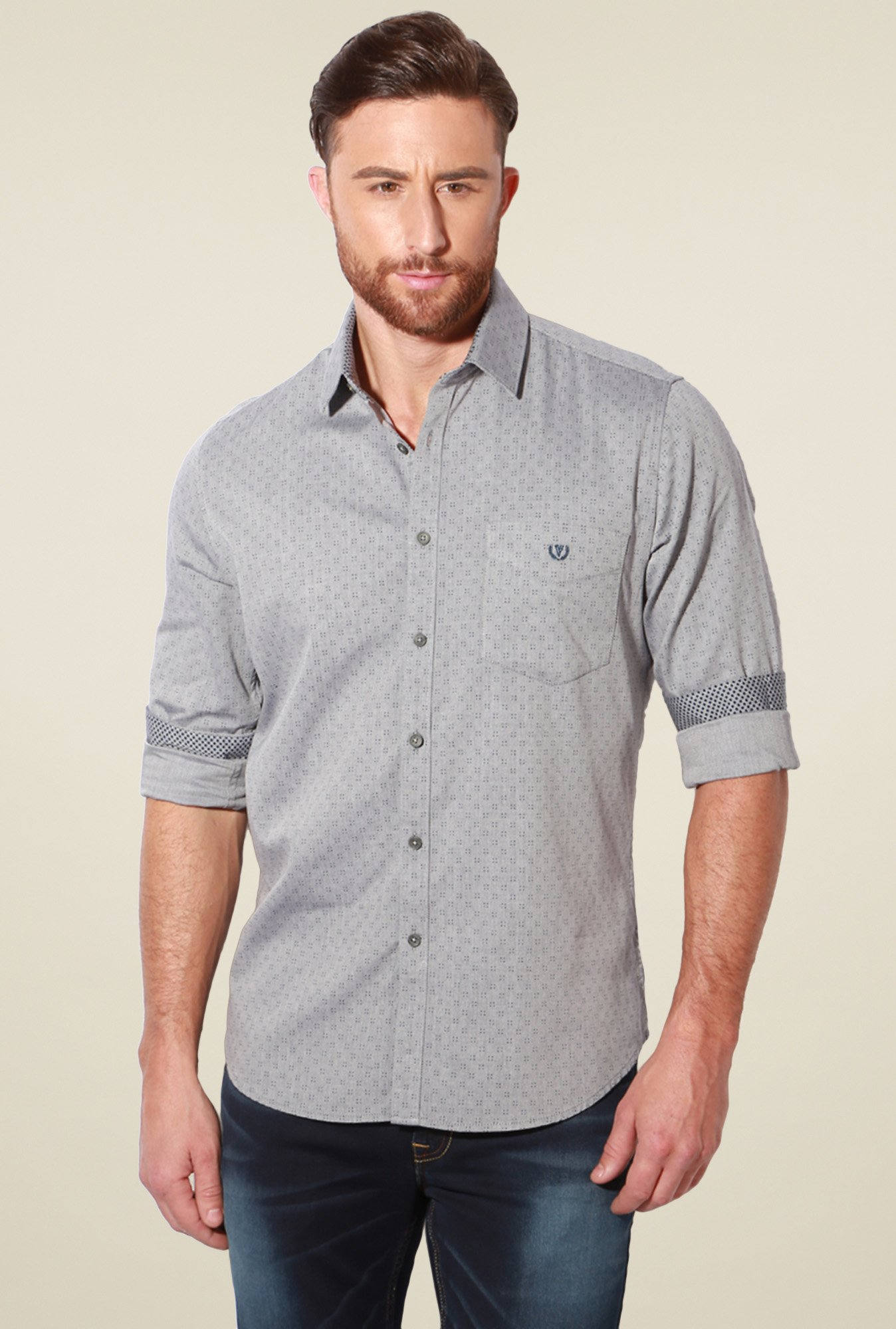 Van Heusen Grey Slim Fit Printed Cotton Shirt