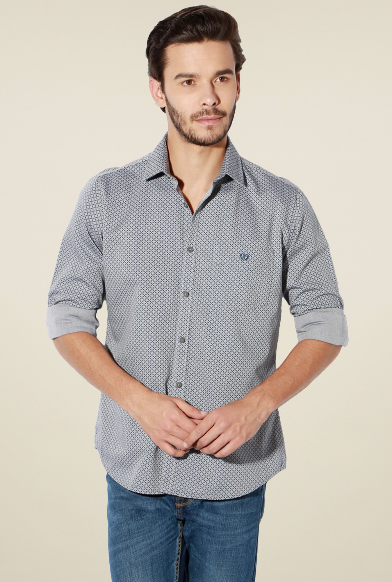 Van Heusen Grey Full Sleeves Printed Cotton Shirt