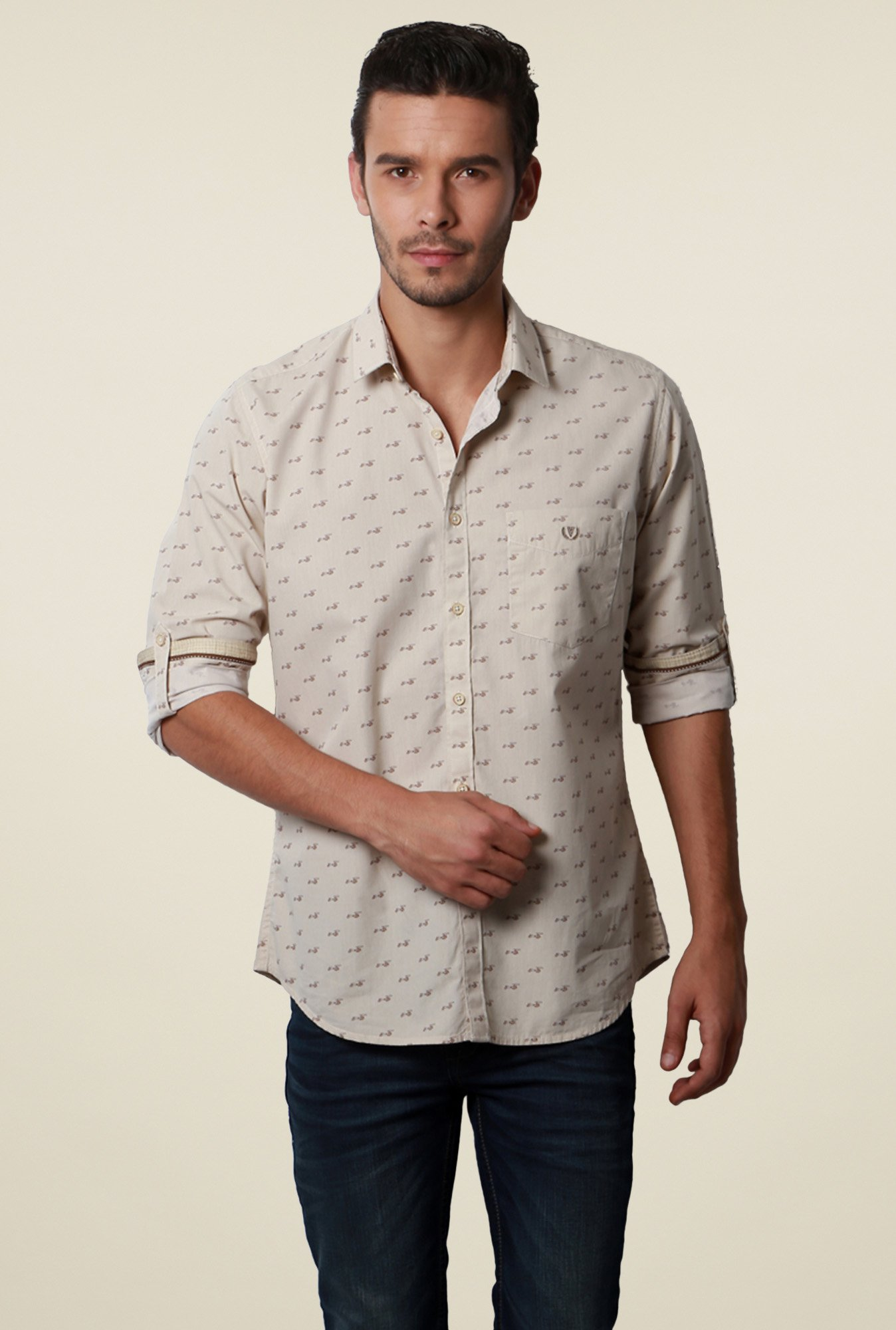 Van Heusen Beige Printed Slim Fit Cotton Full Sleeves Shirt