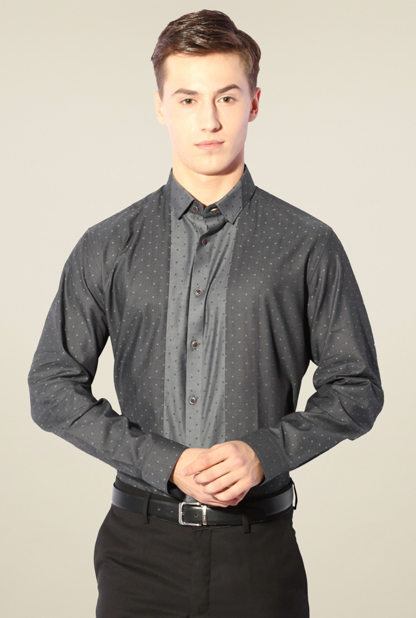 Van Heusen Dark Grey Full Sleeves Shirt