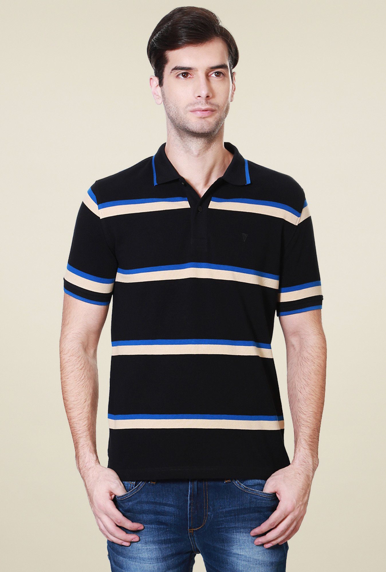 Van Heusen Black Striped Cotton Polo T-Shirt