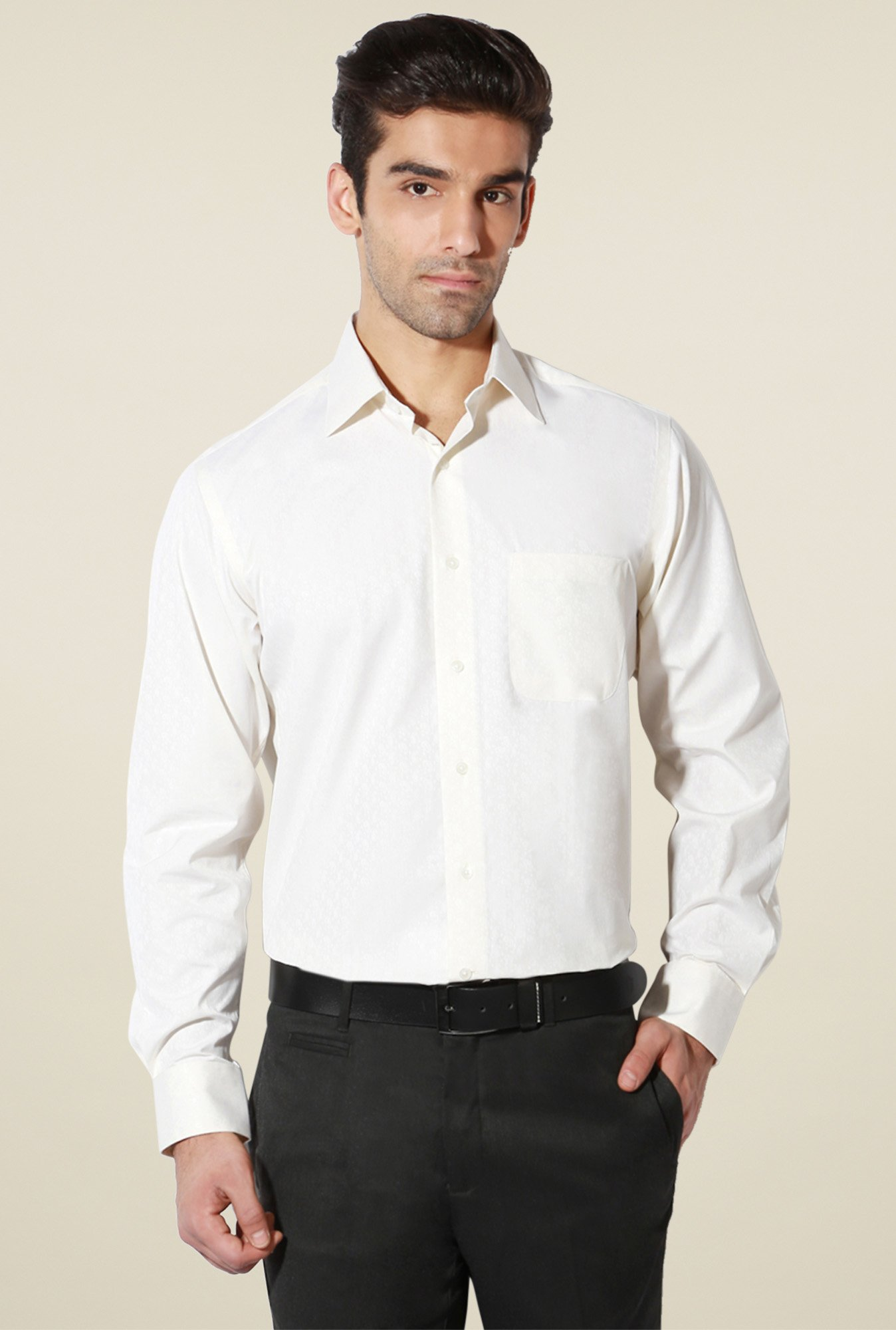 Van Heusen Cream Full Sleeves Comfort Fit Shirt