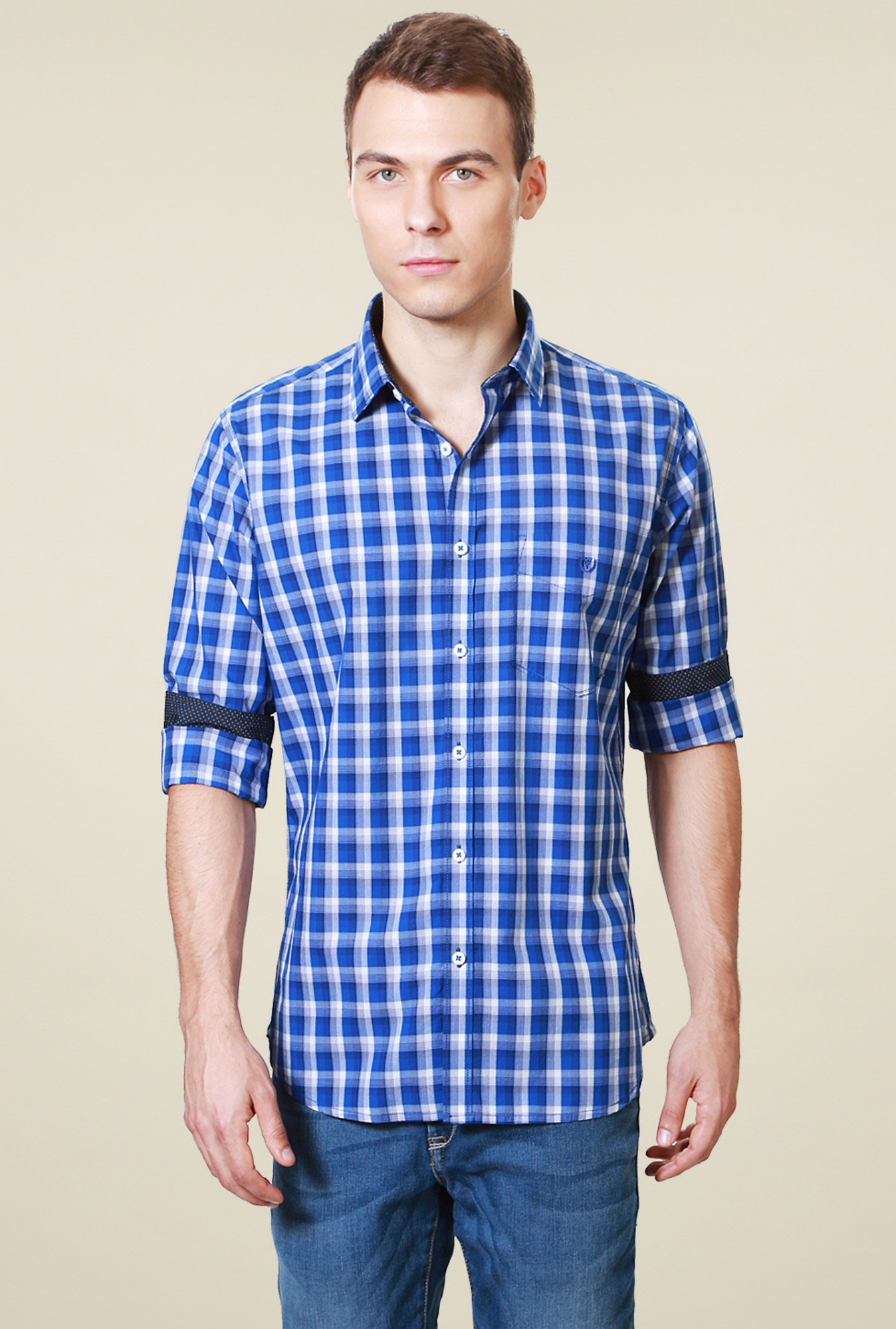 Van Heusen Royal Blue Checks Slim Fit Shirt