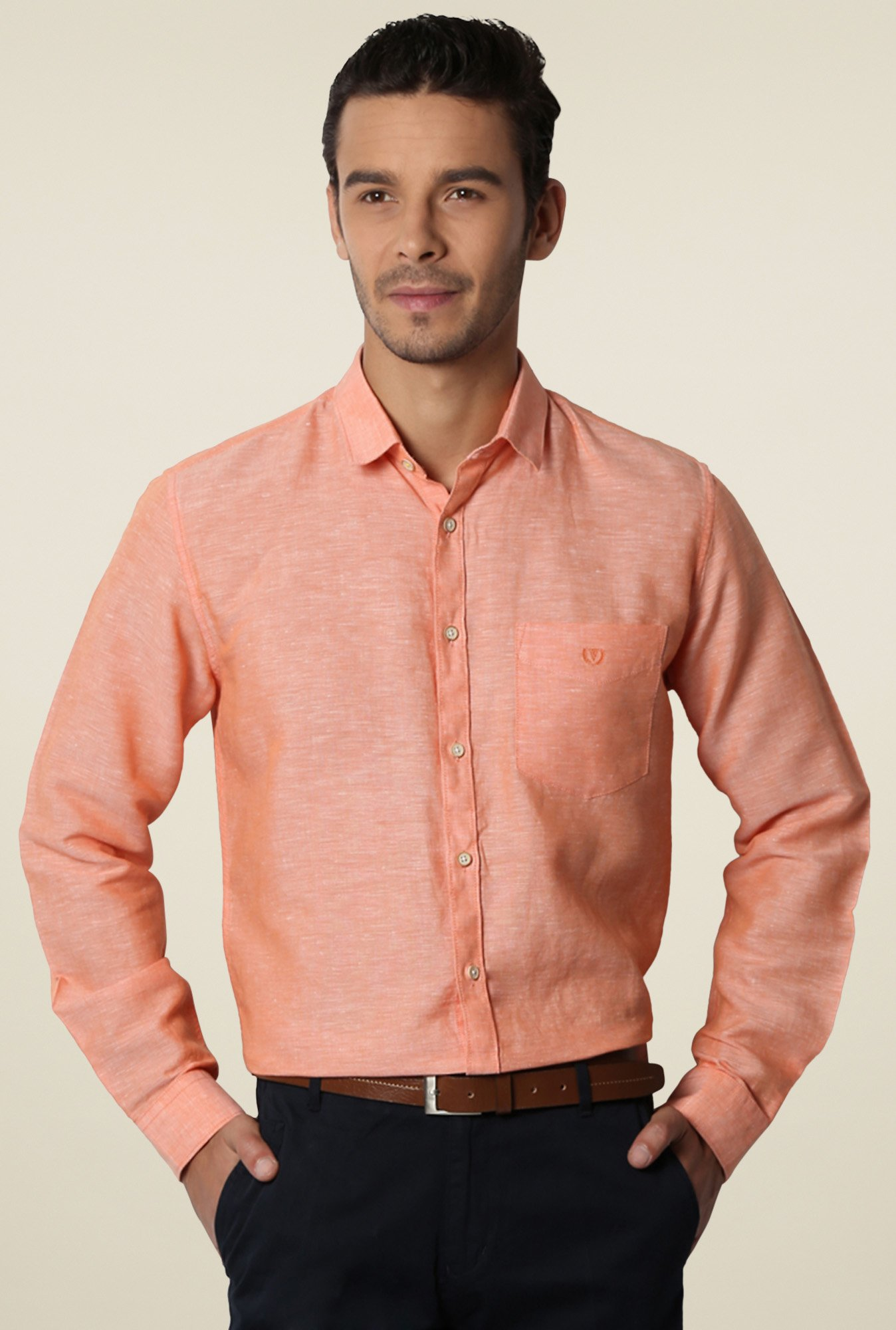 Van Heusen Orange Cotton Shirt