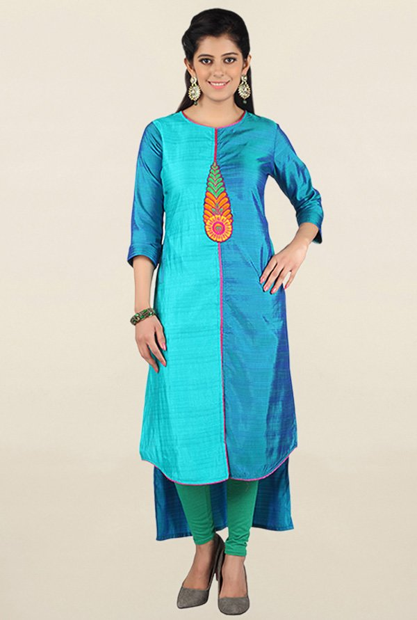 Jashn Blue Embroidered Tussar Silk Kurta
