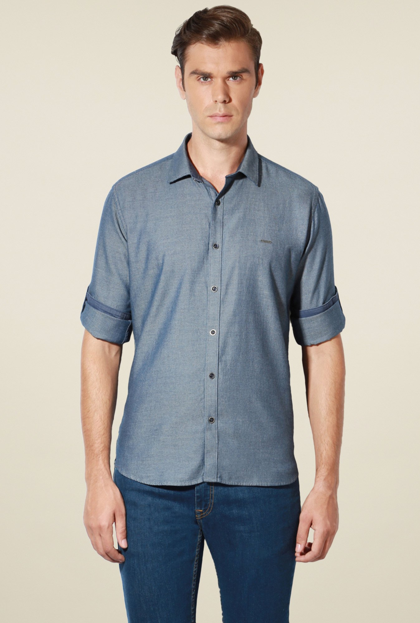 Van Heusen Stone Blue Full Sleeves Cotton Shirt