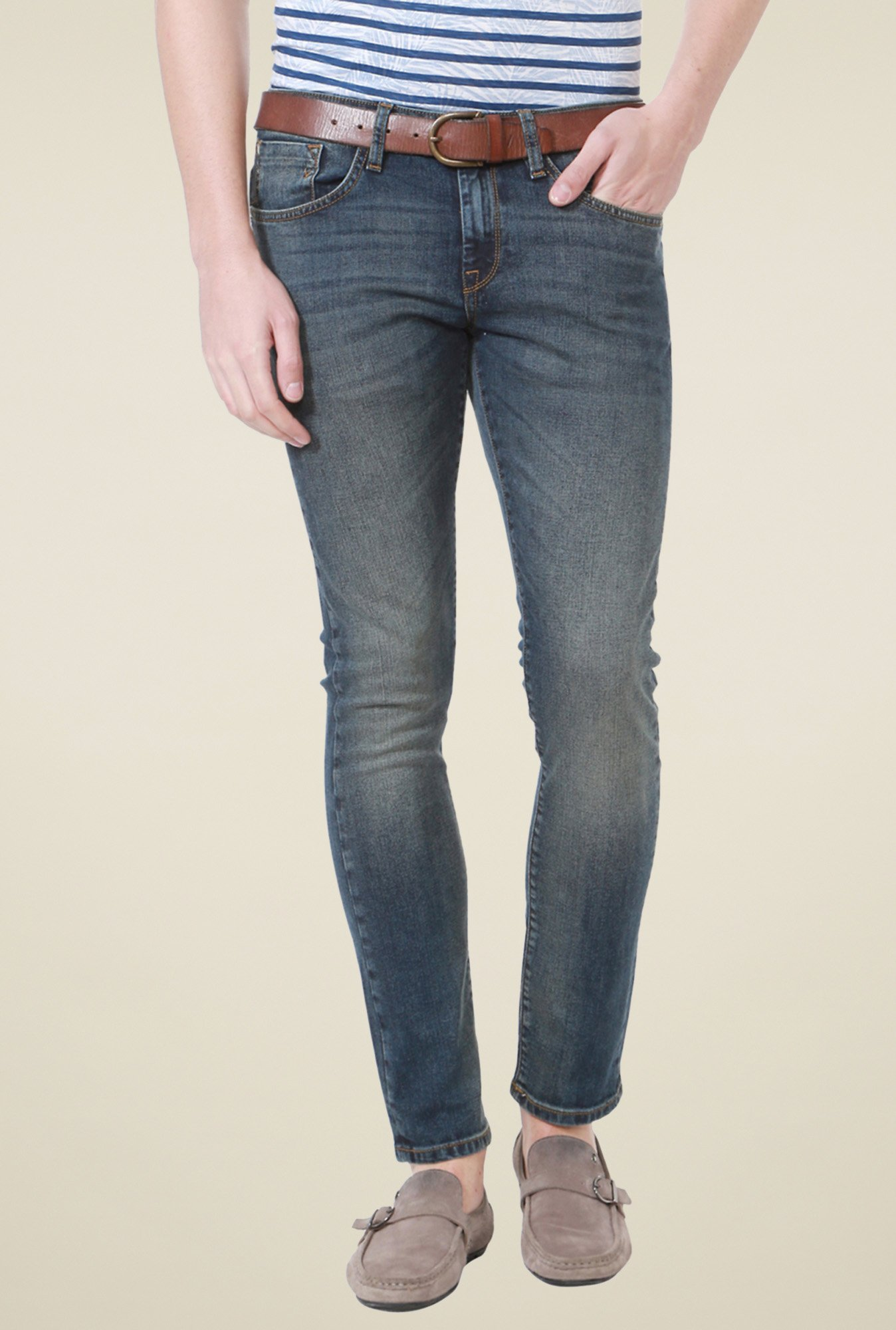 Allen Solly Blue Mid Rise Slim Fit Jeans