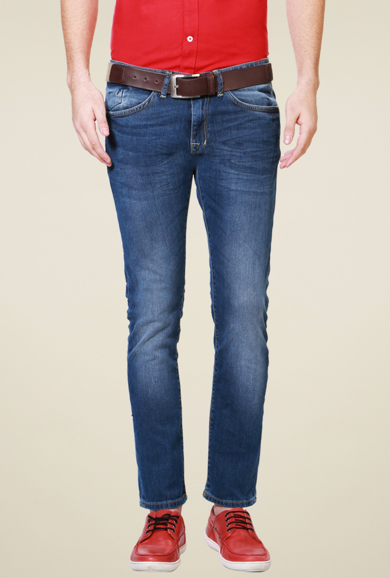 Allen Solly Blue Lightly Washed Cotton Jeans
