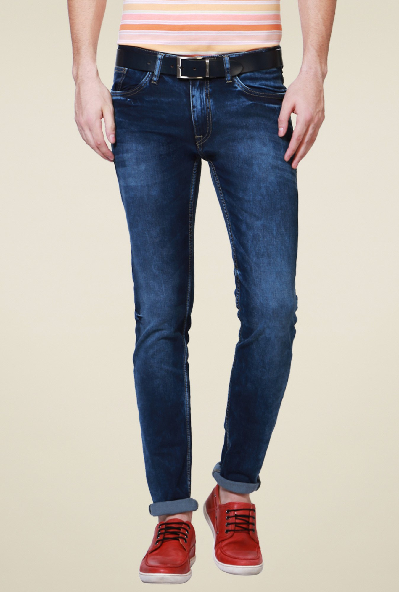 Allen Solly Dark Blue Lightly Washed Mid Rise Jeans