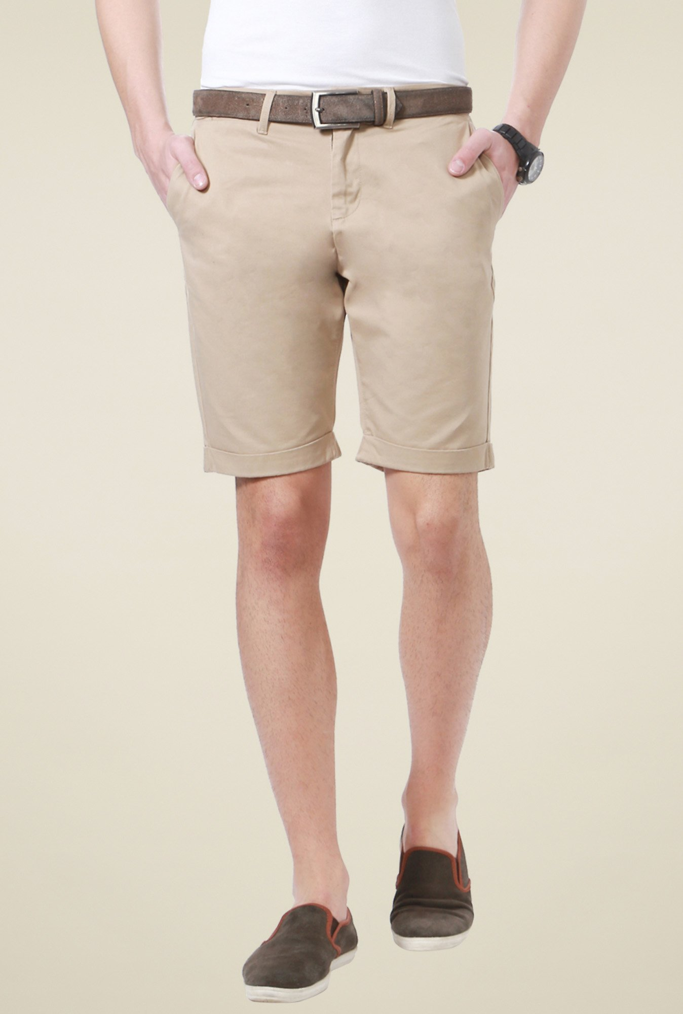 People Beige Cotton Regular Fit Shorts