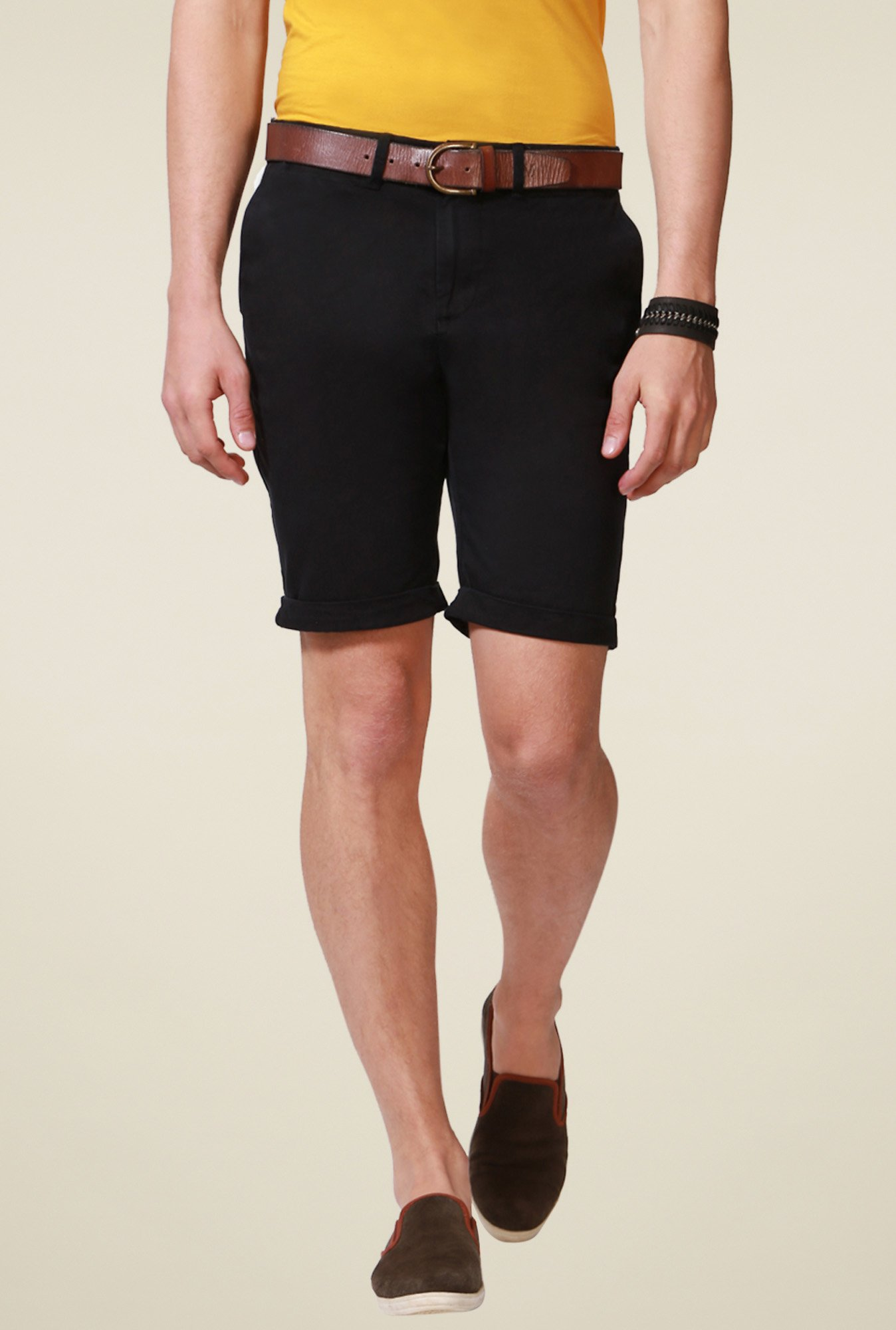 People Black Mid Rise Cotton Shorts