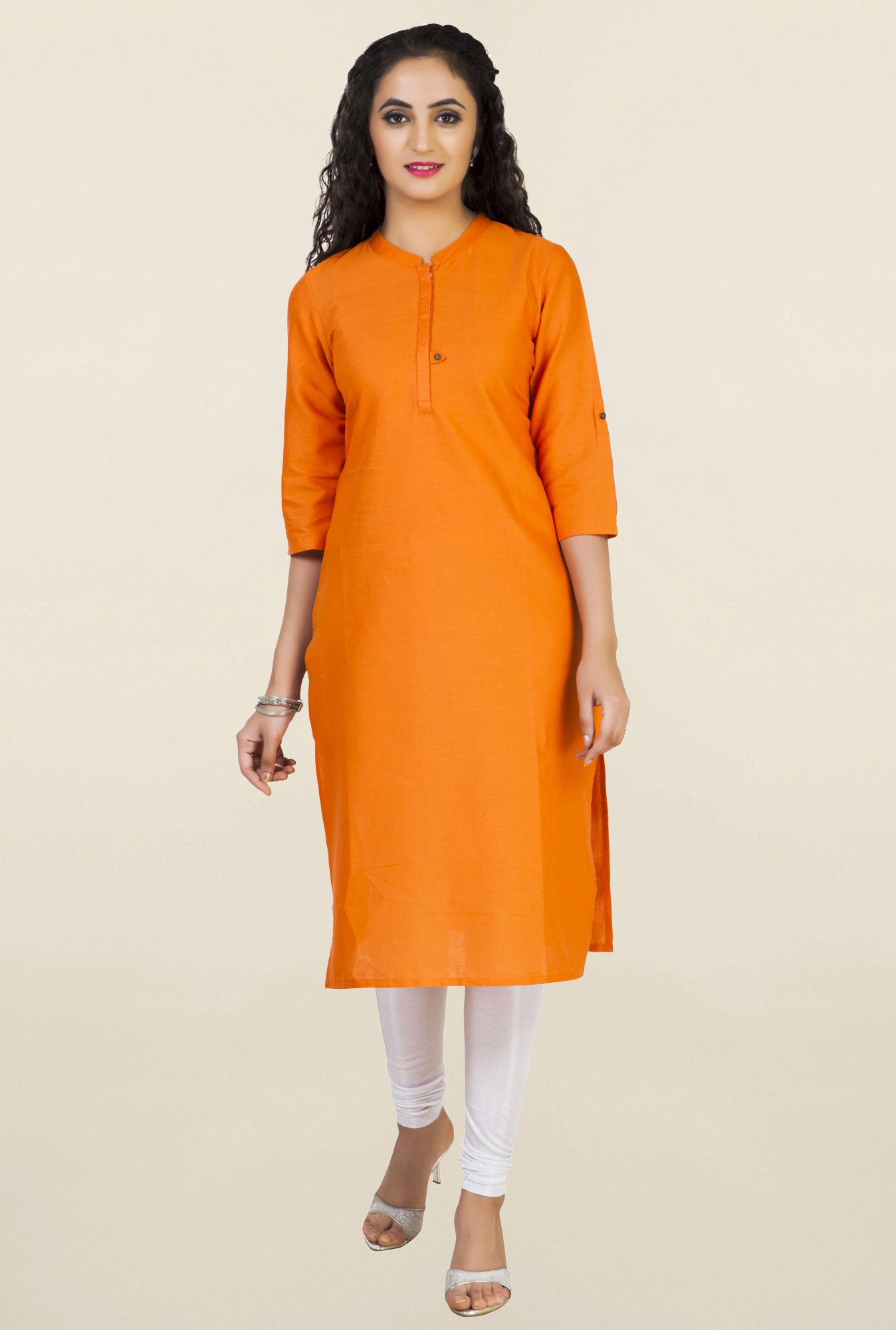 Aurelia Orange Solid Kurta
