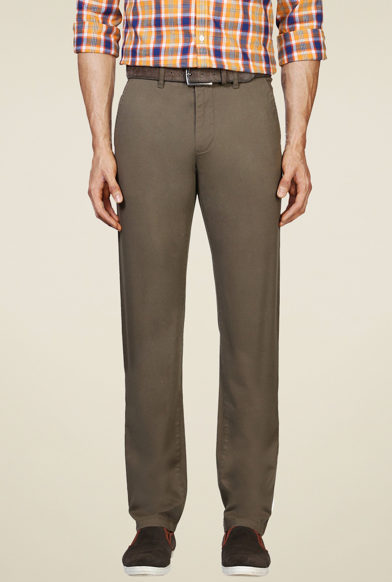 Van Heusen Brown Slim Fit Mid Rise Trousers