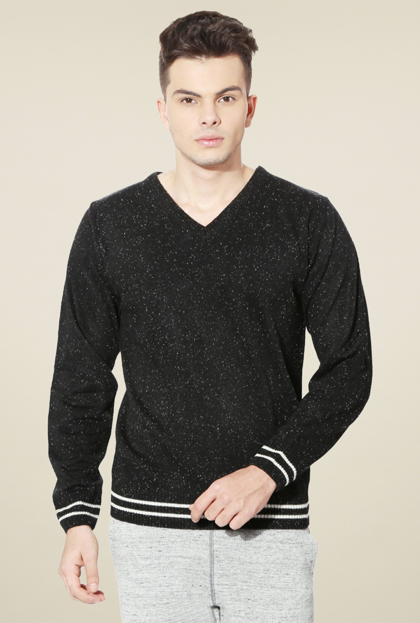 People Black V-Neck Full Sleeves Sweater