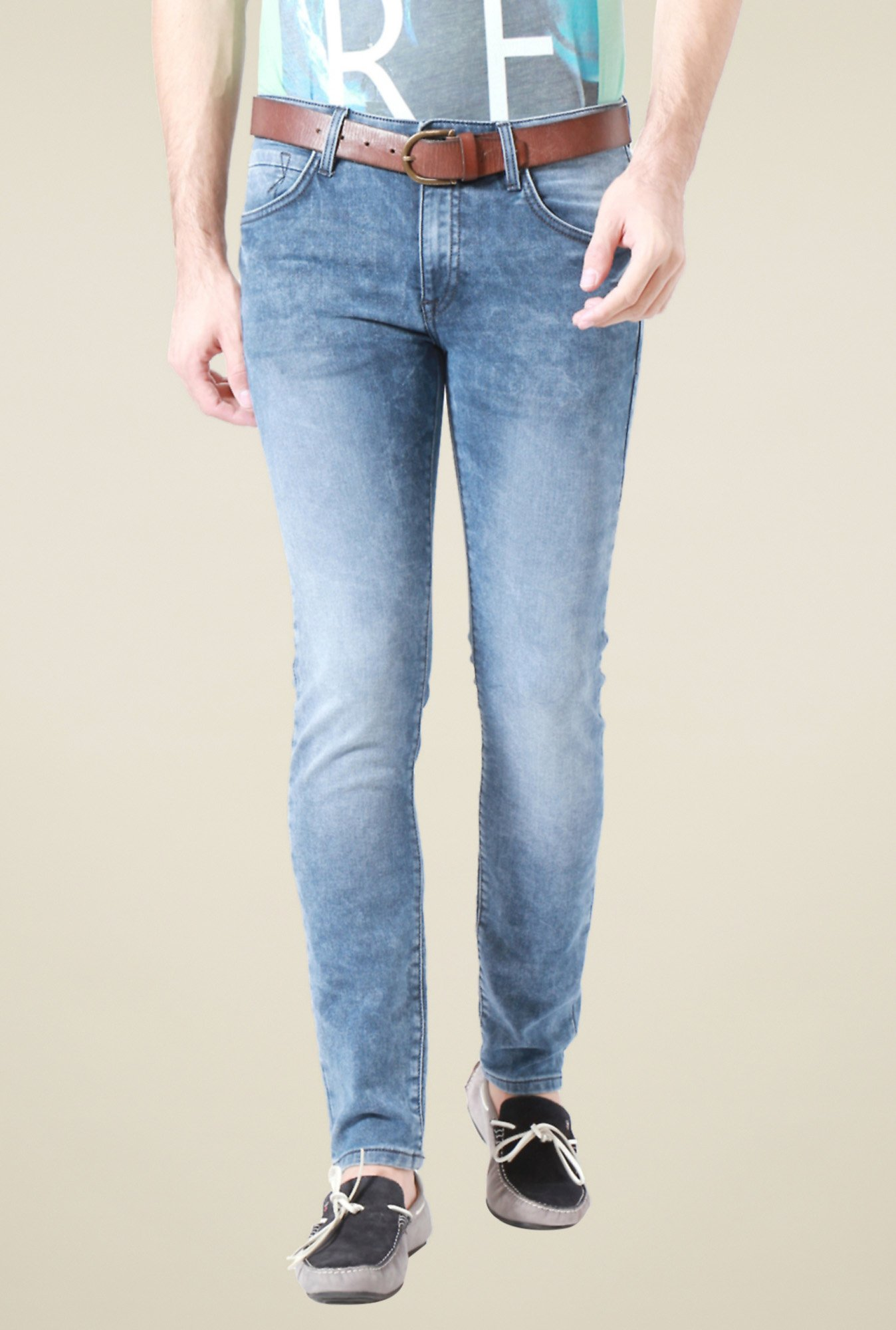 Allen Solly Blue Heavily Washed Mid Rise Jeans