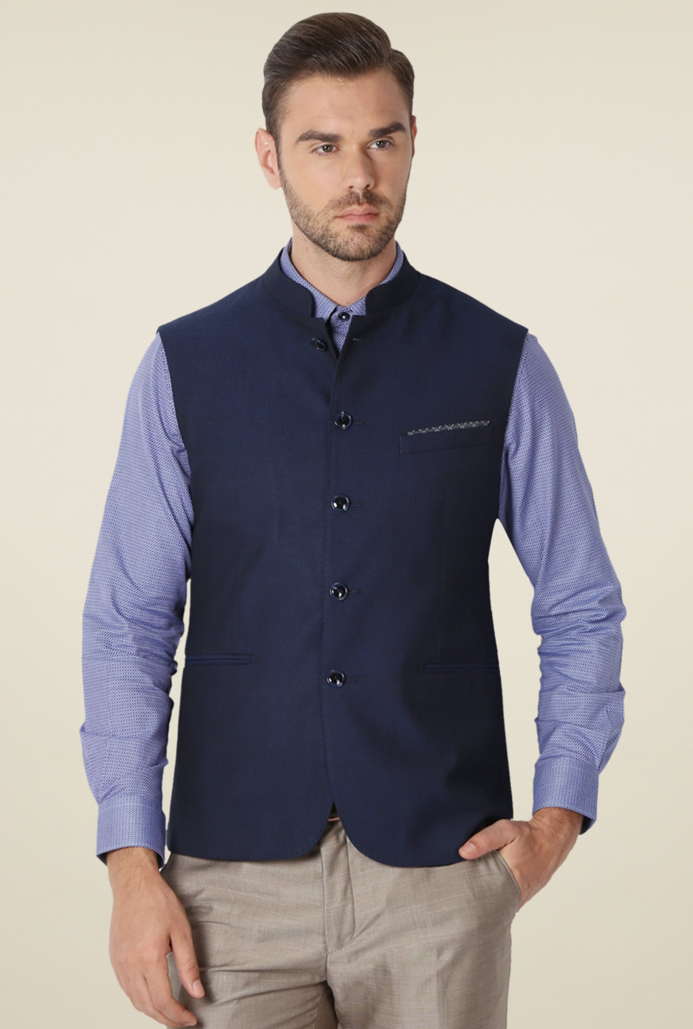 Peter England Navy Sleeveless Slim Fit Jacket