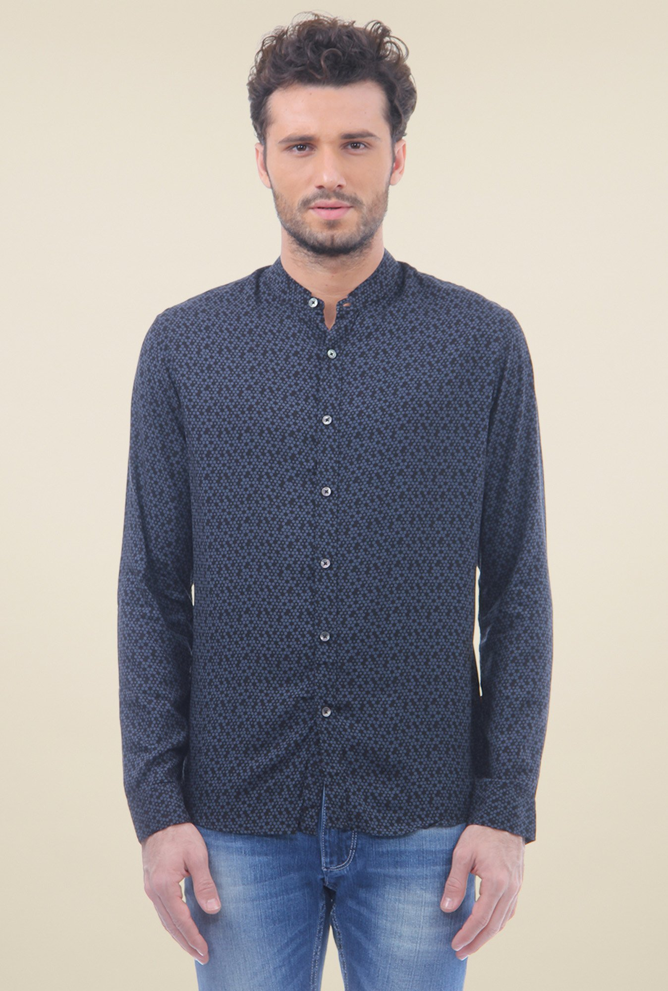 Flying Machine Navy Cotton Shirt