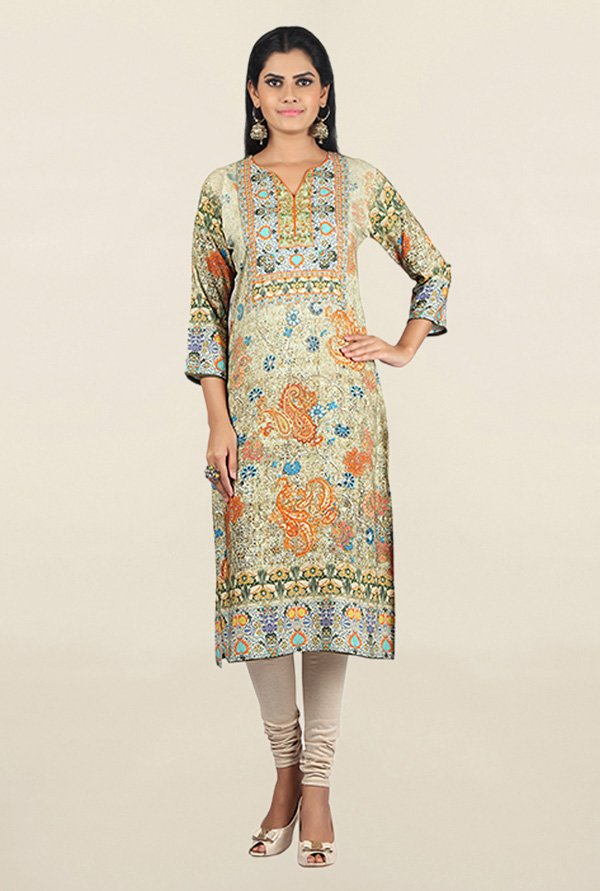 Jashn Beige Printed Cotton Kurta