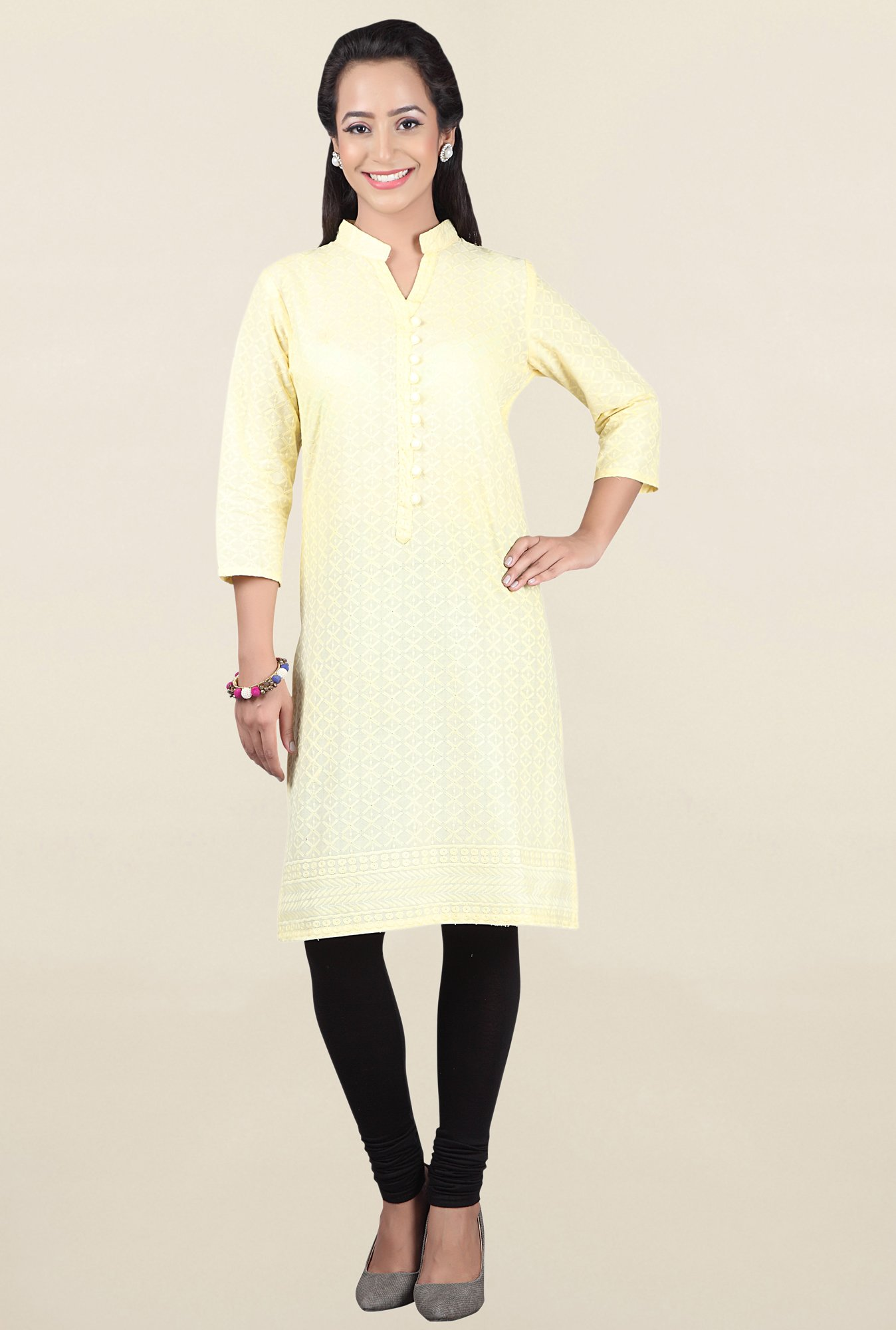 Jashn Yellow Embroidered Cotton Kurta
