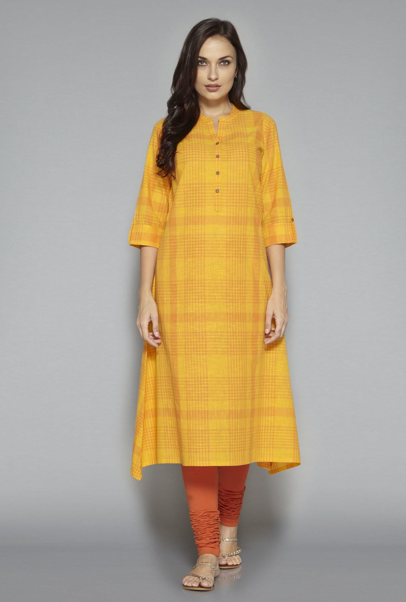8ee325236 Buy Utsa by Westside Yellow Checks Kurta for Women Online   Tata CLiQ