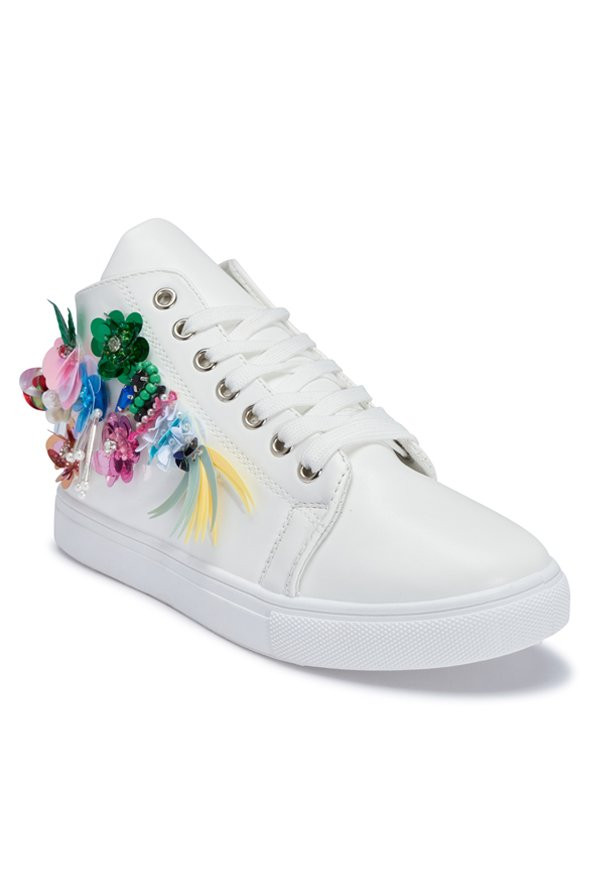 Truffle Collection White Ankle High Sneakers