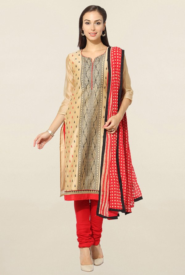 Jashn Beige & Red Embroidered Chanderi Dress Material