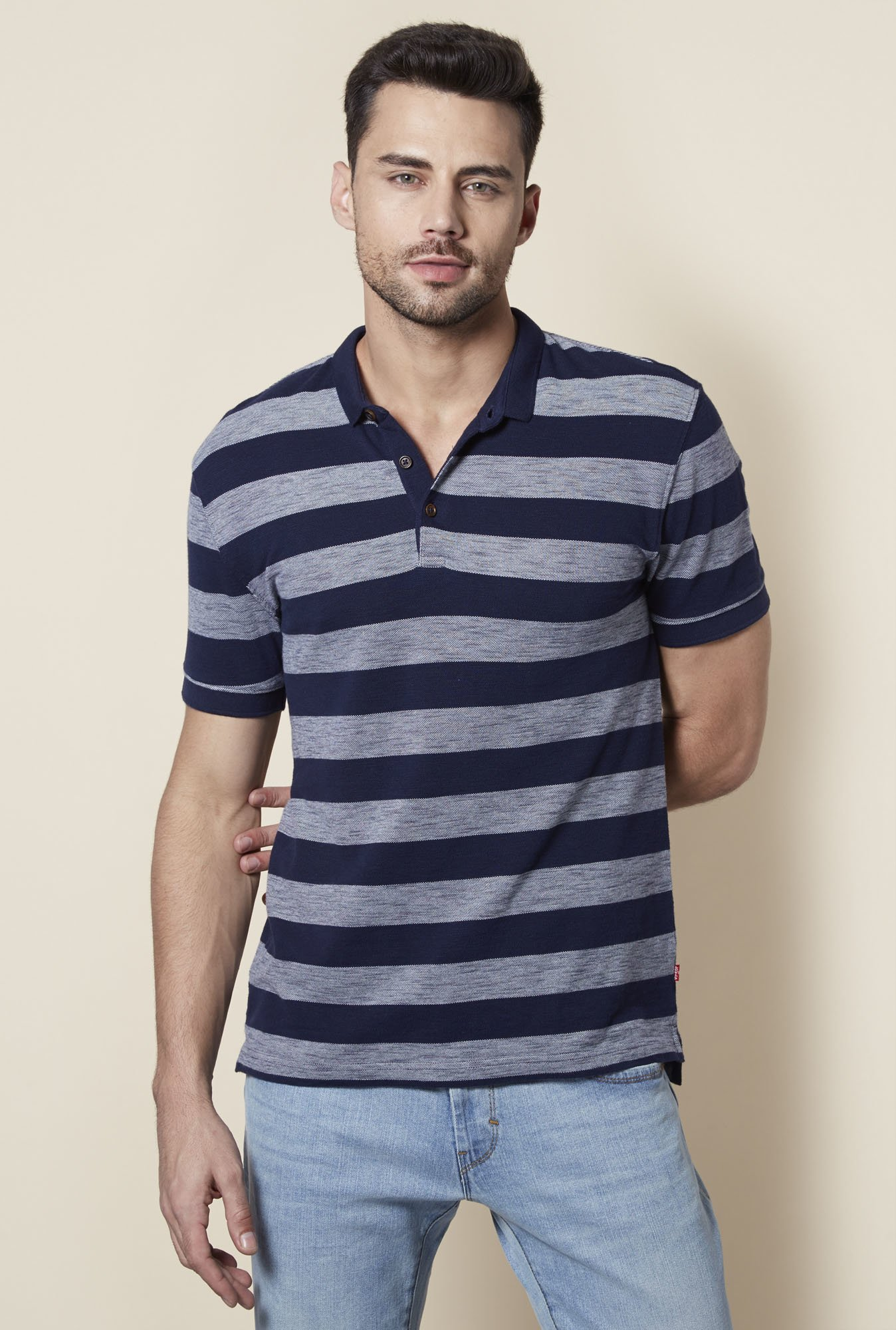 Levi's Navy Striped Polo T-Shirt