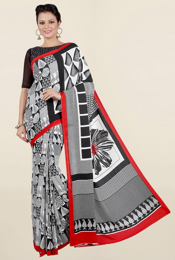 Jashn Off White & Black Printed Crepe Saree