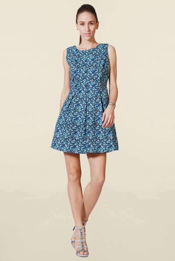 Solly By Allen Solly Blue Floral Print Above Knee Dress