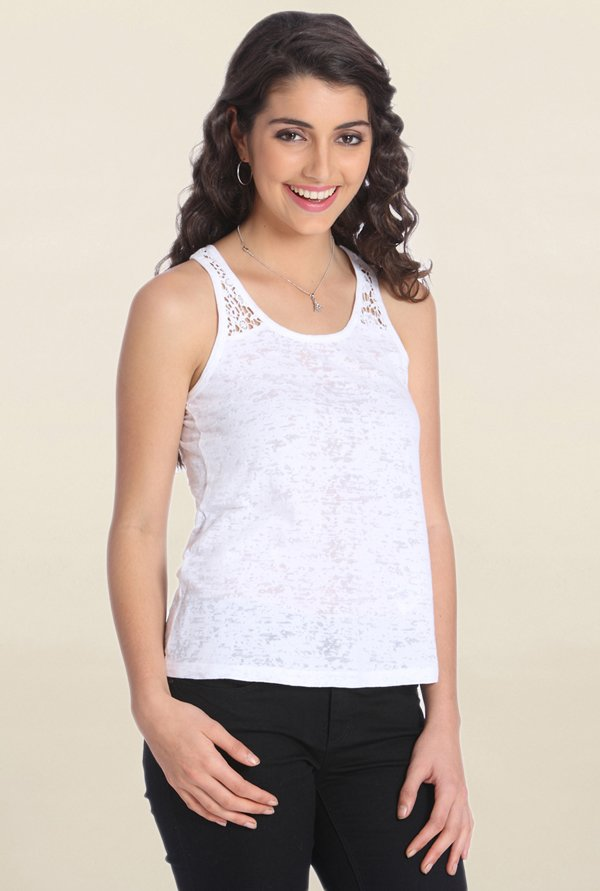 Only White Textured Tank Top