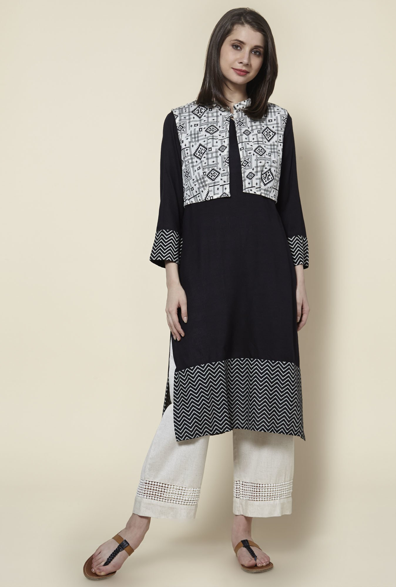 Zudio Black Printed Kurta With Jacket