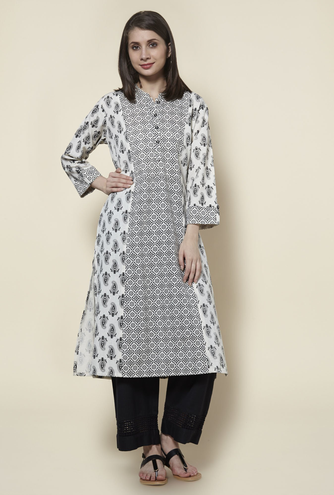 Zudio Off White Pure Cotton Kurta
