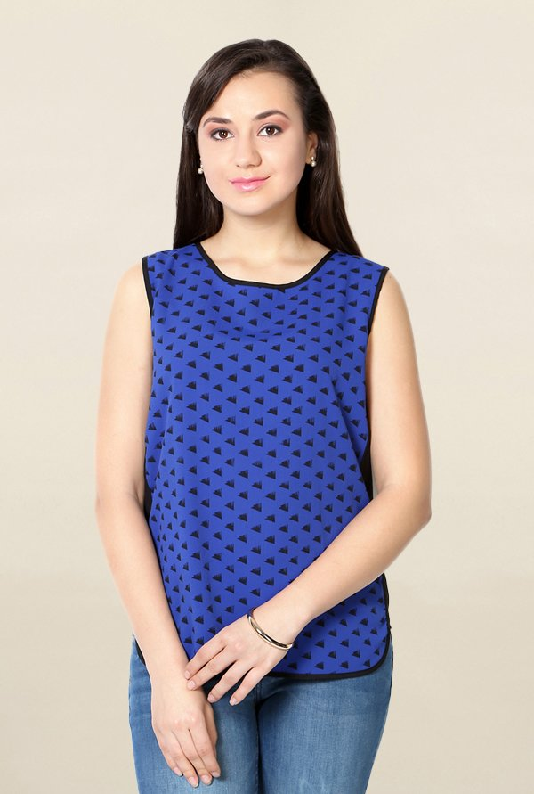 Solly by Allen Solly Blue Printed Top