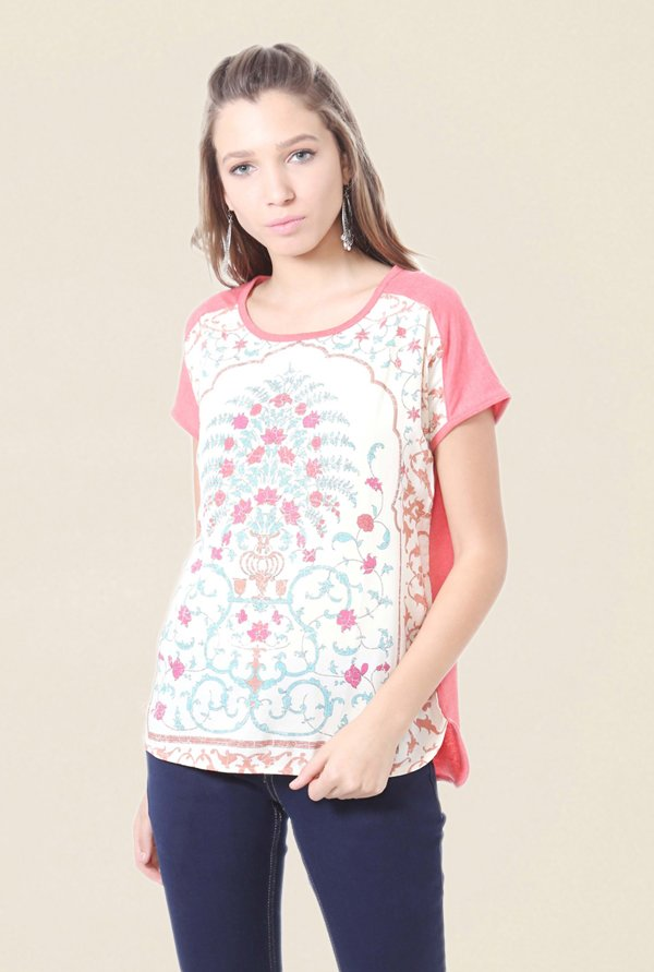 People White & Pink Floral Print Top