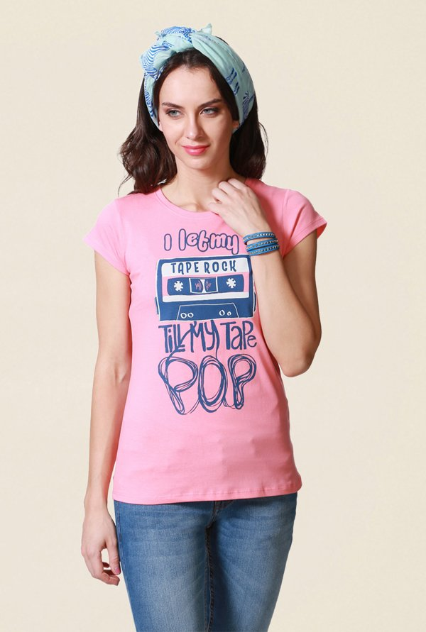 People Pink Graphic Print T Shirt