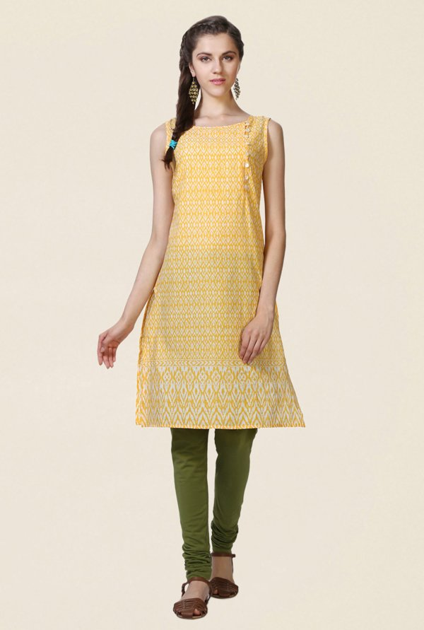 People Yellow Printed Cotton Kurta