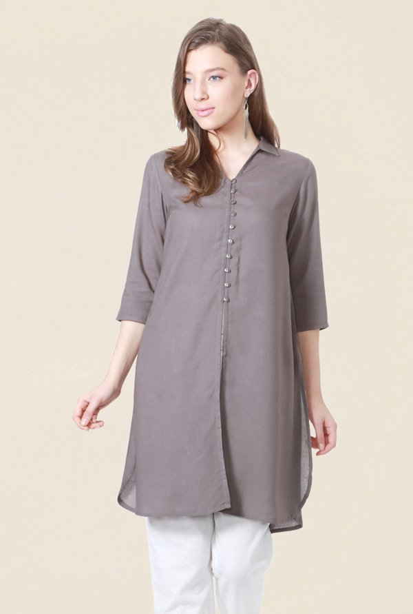 People Grey Solid Kurta