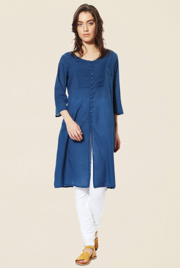 People Blue Textured Cotton Kurta