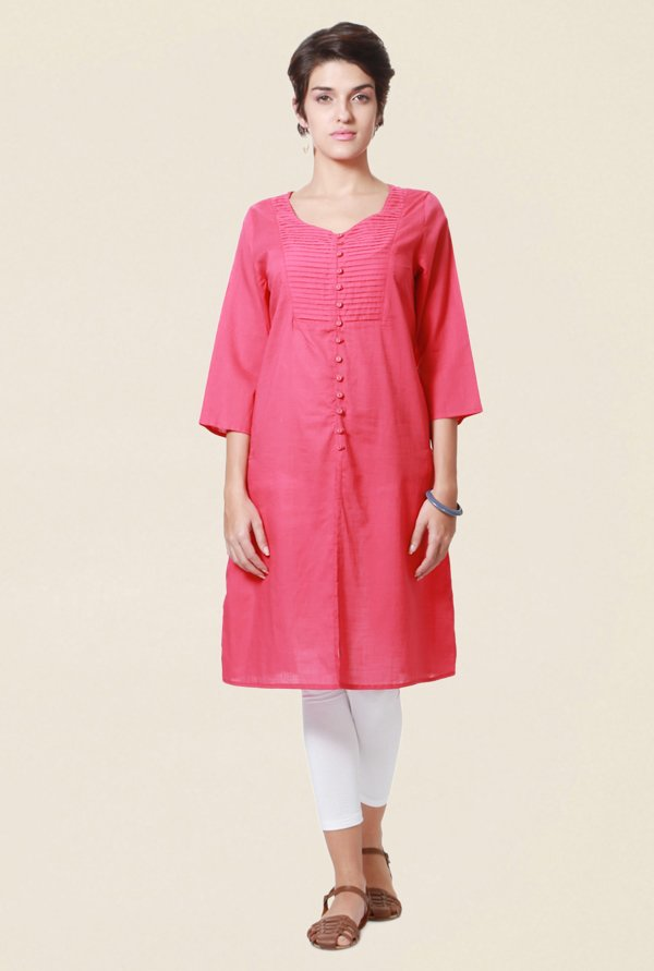 People Pink Textured Cotton Kurta