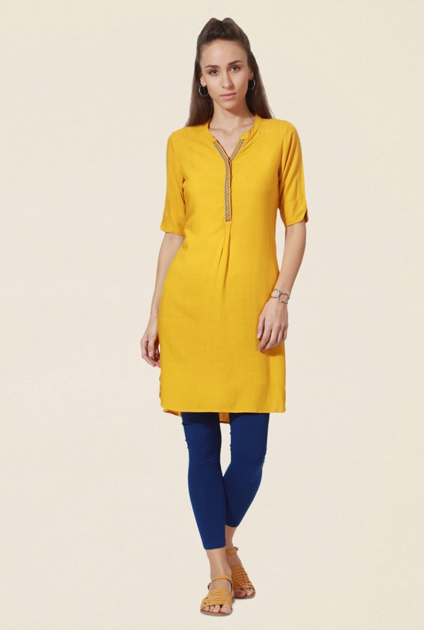 People Yellow Textured Kurta